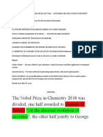 nobel prize 2018 and tidbits knowledge about it