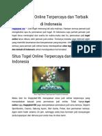 Situs Togel Online Terpercaya Dan Terbaik Di Indonesia