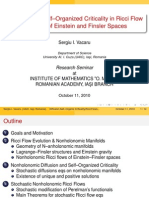 Diffusion and Self-Organized Criticality in Ricci Flow Evolution of Einstein and Finsler Spaces