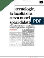 Biotecnologie cerca nuovi spazi didattici - Il Corriere Adriatico del 12 ottobre 2018