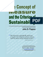 The Concept of Measure and the Criterion of Sustainability