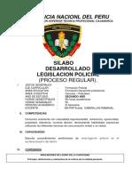Silabo Desarrollado de Legislación Policial 2018