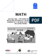 Math 4 Dlp 42 - Solving One – Step Word Problems Involving Division of 5 or More Digit Numbers By