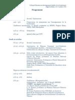 Programme Prévisionnel du colloque