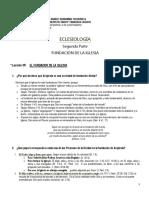 Eclesiología 1 Cuestionario Fundacion de La Iglesia