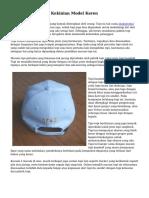 Kreasi Pabrik Topi Kekinian Model Keren