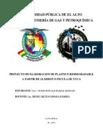 proyecto de elaboracion de plastico biodegradable a base de yuca