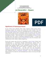 Devi Navarathri - Dasara (Significance)