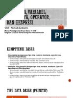 Tipe Data, Variabel, Konstanta, Operator, Dan Ekspresi