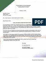 US Treasury IRS Whistleblower Claim Final Decision Regarding United Community Housing Coalition 10-4-18