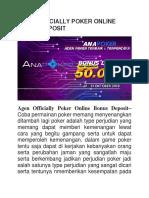 Agen Officially Poker Online Bonus Deposit