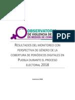 OVIGEM Resultados Segundo Monitoreo Agosto 2018 (Puebla)