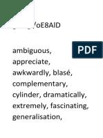 Year 9 Vocab Words