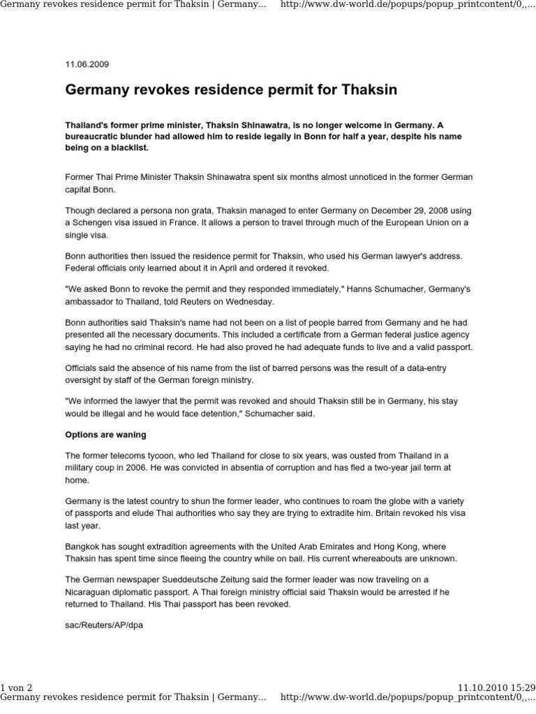 Germany Revokes Residence Permit For Thaksin Travel Visa Thailand