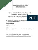 Indicadores de Evaluación Para Todas Las Pruebas de Instrumento 2015 II
