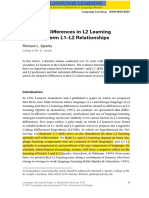 Sparks Individual Differences in L1 and L2 Learning