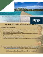 Hostess - Russian Speaking