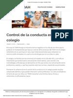 Control de La Conducta en El Colegio – MUNDO TDAH