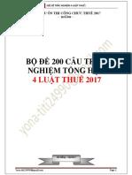 Bộ Đề 200 Câu Trắc Nghiệm 4 Luật Thuế 2017