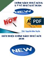 Chính Sách Thuế Mới 2018 & Một Số Lưu ý Về Thuế (02 Giờ)