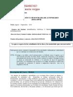 CRONOGRAMA de ACTIVIDADES ACADÉMICAS Enseñanza Virtual y Tecnologías de La Información