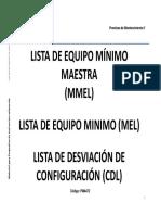 LISTA DE EQUIPO MÍNIMO MAESTRA (MMEL) LISTA DE EQUIPO MINIMO (MEL) LISTA DE DESVIACIÓN DE CONFIGURACIÓN (CDL)