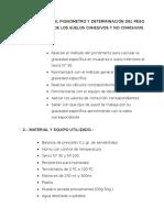 Calibración Del Pignómetro y Determinación Del Peso Específico de Los Suelos Cohesivos y No Cohesivos