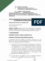 Auto de Detención Preliminar Contra Ana Herz, Pier Figari, Vicente Silva y Carmela Paucará