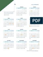 Calendario 2019 Una Pagina Chl