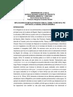 Estado Del Agua Perteneciente Al Rio Bogota Por La Contaminacion de Desechos Reciduales