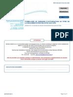 Formulaire autorisation ICPE