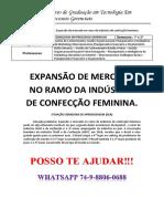 Unopar Pg 3 e 4 Expansão de Merc No Ramo Da Ind de Confecção Feminin