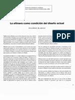 03 - BLANCO, Ricardo - Lo efímero como condición del diseño actual.pdf