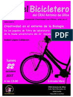 Creatividad en el entorno de la Biología, de los papeles de filtro del laboratorio, a la descripción de la fauna del Sr. Decano, a cargo de Isabel López Calderón