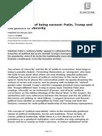 Importance Earnest Putin Trump Politics Sincerity
