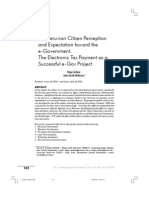 The Peruvian Citizen Perception and Expectation toward the e-Government. The Electronic Tax Payment as a Successful e-Gov Project