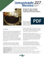 Extração de óleo essencial de Oriza