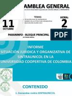 Informe Asamblea Genral Sintraunicol Ucc 11-10-18