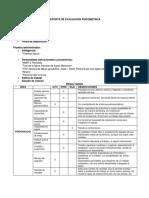 Reporte de Evaluación Psicométrica Para El Área Laboral