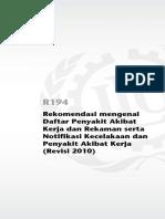 Rekomendasi daftar penyakit akibat kerja Rev 2010