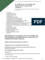 Resumen de La Ley 39_2015, De 1 de Octubre, Del Procedimiento Administrativo Común de Las Administraciones Publicas