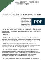 Decreto Nº 9.373, De 11 de Maio de 2018