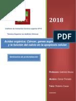 Acidez Orgánica; Cáncer, Genes Supresores, p53 y La Función Del Calcio en La Apoptosis Celular