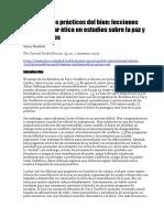 Los Aspectos Prácticos Del Bien Lecciones Para Enseñar Ética en Estudios Sobre La Paz y Los Conflictos