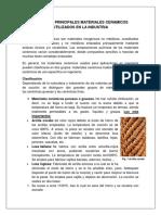 CERAMICA. PRINCIPALES MATERIALES CERAMICOS UTILIZADOS EN LA INDUSTRIA