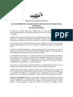 MUD. Universidades Para La Democracia y El Bienestar de Los Venezolanos