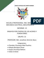 Informe Ensayo Por Chispas de Los Aceros y Fundiciones Completa
