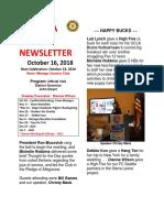 Moraga Rotary Newsletter Oct 16 2018