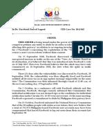 Order Dated 18 October 2018 CID-Case No. 18-J-162