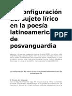 La configuración del sujeto lírico en la poesía latinoamericana de posvanguardia